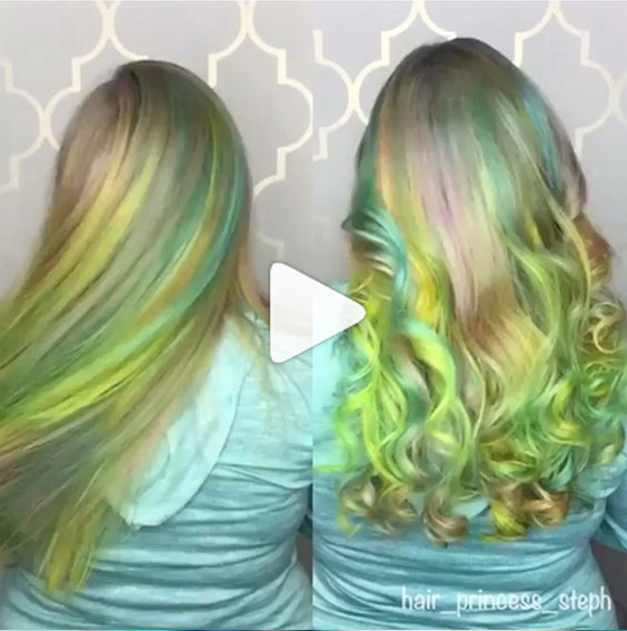 Hair in motion! Beautiful pastel rainbow. Hair color by @hair_princess_steph